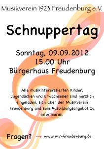 Plakat Schnuppertag MV Freudenburg 2012