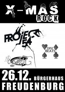 Plakat vom X-Mas Rock 2012 in Freudenburg mit Project 54, Dixi Beats und No Casting